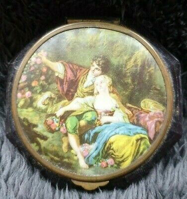Vintage Powder Compact Faux Turtle Shell And Picture