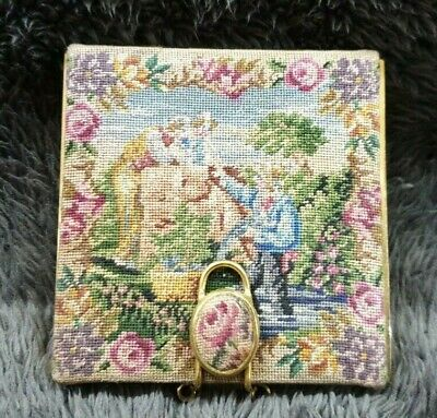Vintage Square Brass And Tapestry Compact