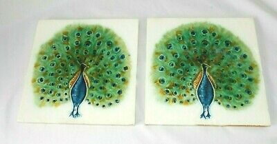 Vtg Ceramic PEACOCK Tiles 6in x 6in Set of Two Majolica ? Henry Richards Tile ?