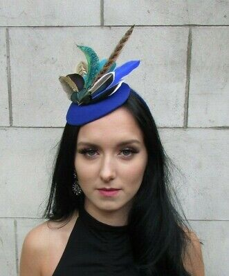 Royal Blue Teal Green Brown Peacock Pheasant Feather Pillbox Hat Fascinator 7703