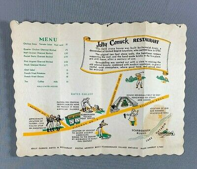 Vtg Jolly Canuck Restaurant Placemat Menu Scarborough Village Ontario