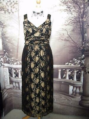 NEW Phase Eight Ballgown/Dress 18 Lace Black/Gold Stretch Gatsby 1920s Evening
