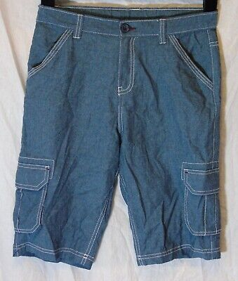 Boys M&Co Blue Denim Look Adjustable Waist Cargo Board Shorts Age 12-13 Years