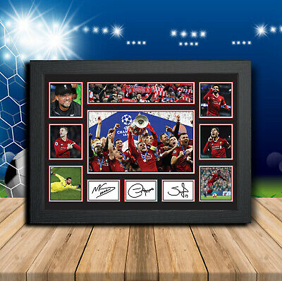 Liverpool Players Salah Firminho Mane Signed Football Print Autographed Gift