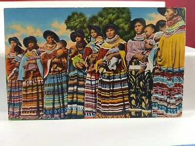 Vintage 1954 Seminole Nation Florida Postcard  Lot(22-16)
