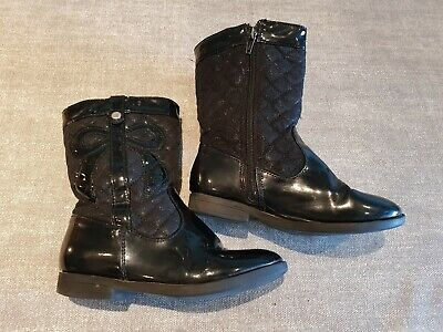 George size 11 (29) black faux patent leather side zip mid calf boots