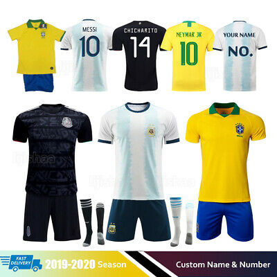 19/20 Kids Soccer Football Club Full Kit Youth Jersey Strips Sports Outfit+Socks