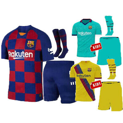 19/20 Football MESSI Kits Youth Jersey Strips Kids Adult Soccer Training Outfits