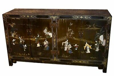 Vintage Four Door Asian Hand Painted Cabinet w/Stone Appliqués