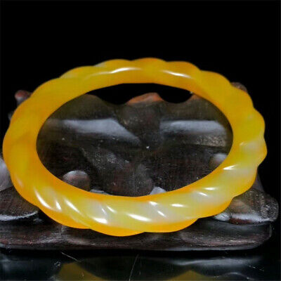 "2.48"" Chinese Exquisite natural Yellow Agate Jade Handmade bracelet"
