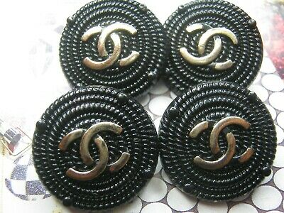 Chanel pretty gold cc buttons BLACK   23mm lot of 4 good condition