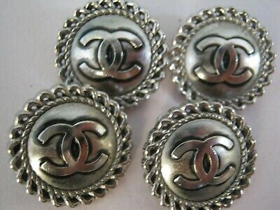 Chanel  cc buttons SILVER  20mm lot of 4 good condition