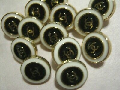 Chanel A SET OF 10 buttons  12mm tiny lot of 10 GOLD CC