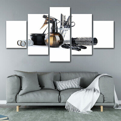 5 Pieces Barber Hairdressing Canvas Wall Art Home Decor Print Poster Painting