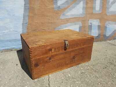 Large Antique Dynamite Explosive 50lb Wooden Box Atlas Powder Company with Lid