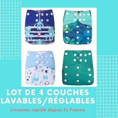Lot De Couches Lavables Évolutives Te1 Jolis Motifs Mixte + Inserts Microfibre