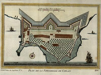 Coylan Fortress India Malabar Coast 1761 Bellin map with hand color