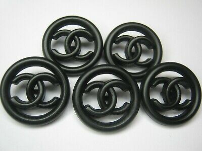 💋💋💋💋💋 Chanel 5 buttons 20mm SET of 5  ALL BLACK,  CC LOGO free shipping