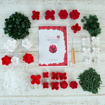 CRAFT BUDDY Forever Flowerz FESTIVE RED ROSES KIT make 270 + tool VALENTINES DAY