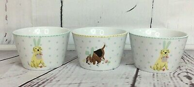 222 Fifth Easter Pups round Dessert Appetizer Soup Cereal Bowls Cups Set Of 3