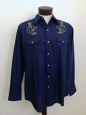 Vintage Youngbloods Embroidered Authentic Navy Blue Western Shirt L