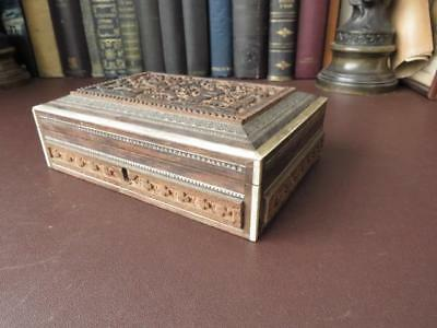 Antique Persian Wooden Box - Intricately Carved Lid & Sides