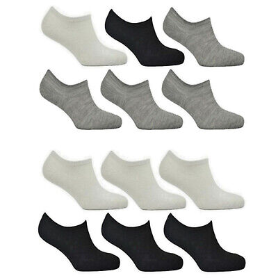 12 6 Pairs Mens Womens Invisible Socks No Show Trainer Shoe Liner Loafer Low Cut