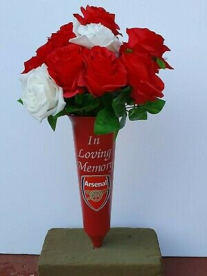 Arsenal Memorial Grave Spike Vase Tribute with Red and White Artificial Roses