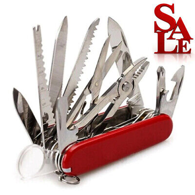Red Pocket Army Knife Folding Multi-Use Tool Camping Survival 31-use Swiss USA