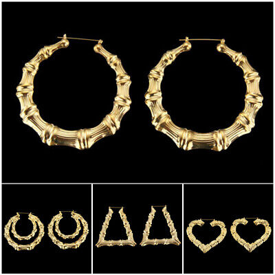 Alloy Earrings Hoops Circle Bamboo Design for wedding daily use Hip Hop Bling