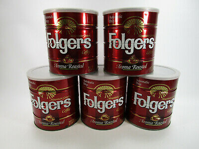 Lot of 5 vintage empty large Folgers coffee cans big Lebowski
