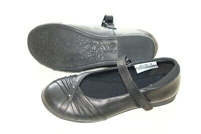 Clarks girls real leather black school shoes size 2/34 F standard fit New