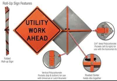Safety (Utility Work Ahead) 48''X48'' Reflective Roll up Construction Sign W/Rib