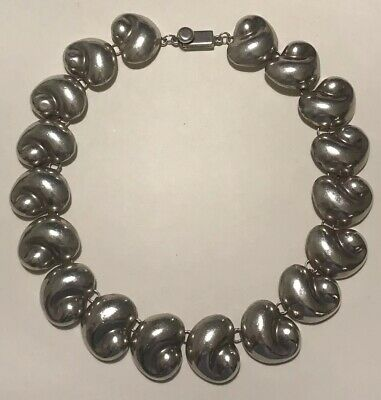"Vintage TAXCO MEXICO TO-34 Sterling Silver PUFFY SEASHELL Link 16"" Necklace 142g"