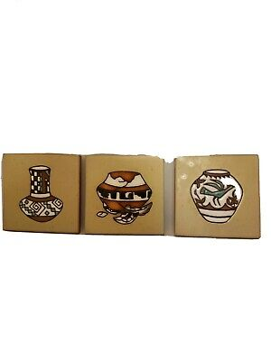 Cleo Teissedre Hand Painted Southwestern Ceramic Tiles. Set of 3