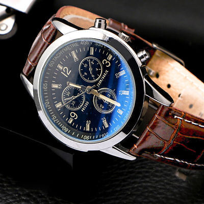 Men's Leather Military Casual Analog Quartz Wrist Watches Business Watches Gifts