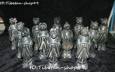Rare Hongshan Culture Old Jade 12 Zodiac Animal Head Human Body Statue Full Set