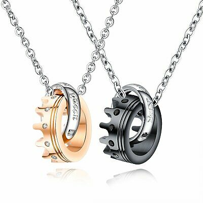 2pcs Her King His Queen Stainless Steel Crown CZ Lover Couple Necklace Men Women