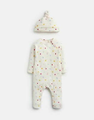 Joules Baby Giggle Supersoft Babygrow And Hat Set in CREAM SPOT MOUSE