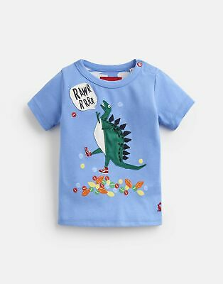 Joules Baby Archie Jersey Applique T Shirt in BLUE TRIPPING DINO