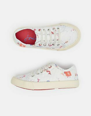 Joules Girls Coast Pump Canvas Lace Up Trainers in CREAM MERMAID STRIPE