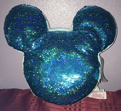 Disney Parks Frozen Arendelle Aqua Blue Mickey Reversible Sequined Pillow
