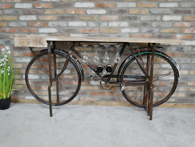 Bar Bike Pub Counter Console Table Drinks Beer Bottles Reclaimed Wood Rustic
