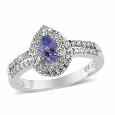 925 Sterling Silver Tanzanite Cubic Zirconia CZ Halo Ring Gift Jewelry Ct 1.4