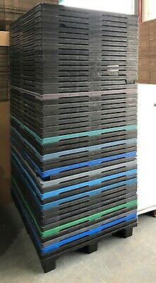 47 x USED Heavy Duty Plastic Nesting Pallets Perforated 120 x 100cm on feet