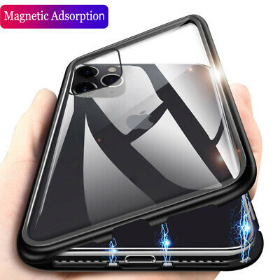 For iPhone 11 Pro Max XS XR 360° Magnetic Adsorption Metal Flip Glass Case Cover