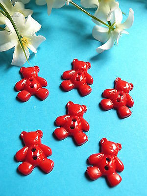 "544B/Adorable Small Buttons "" Bear Red "" Set of 6 Buttons"