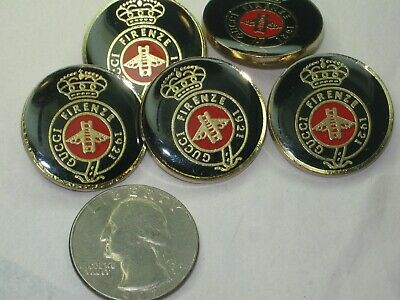 GUCCI 5 gold red black BUTTONS  24mm lot of 5 good condition