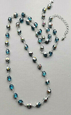 Teal blue glass crystal AB bead necklace .. silver plate matinee glam jewellery