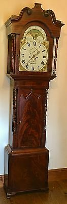 # Mahogany Grandfather Longcase Clock Rolling Moon Movement  W Jones Manchester
